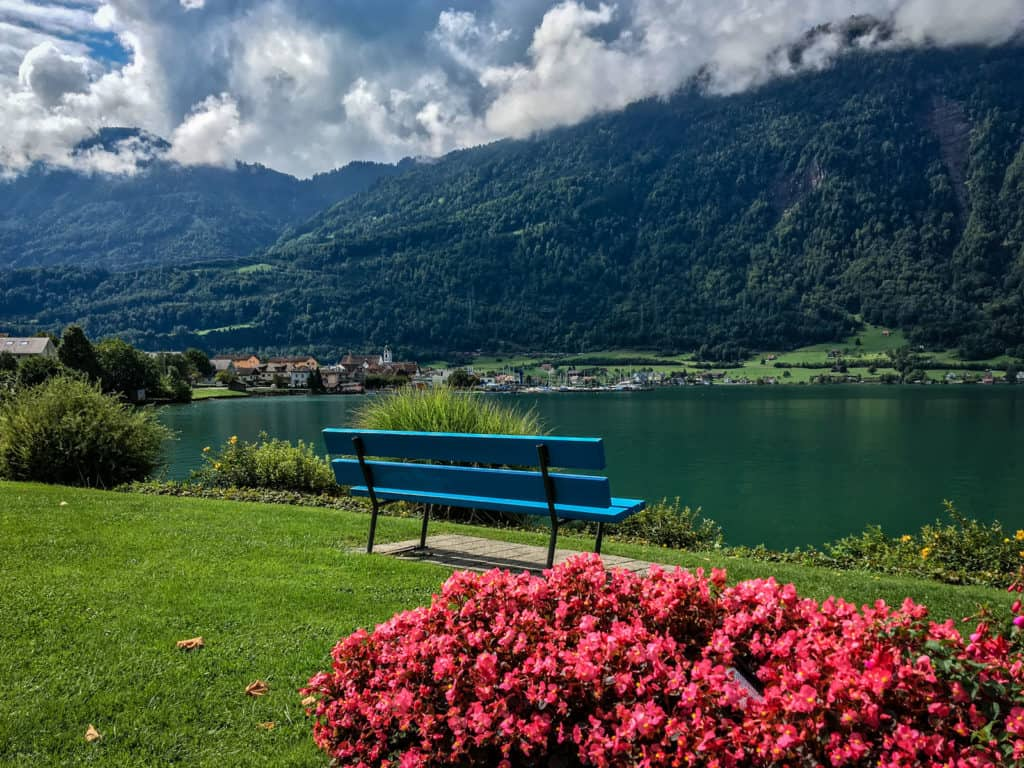 Lake Zug bike ride lakeside bench