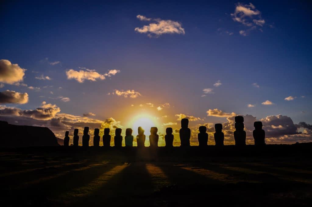 Easter Island row of Moai Ahu Tongariki